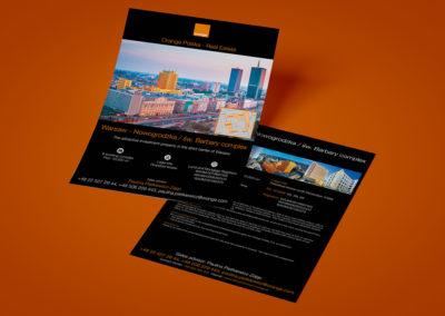 Folder reklamowy nieruchomości inwestycyjnej Warszawa - Nieruchomości Orange